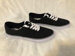 Black Canvas Lace Up Sneaker Shoes Size