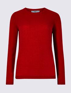 ex-M-amp-S-Womens-Crew-Round-Neck-Jumper-in-Dark-Red-Soft-Warm-55-Pure-New-Wool