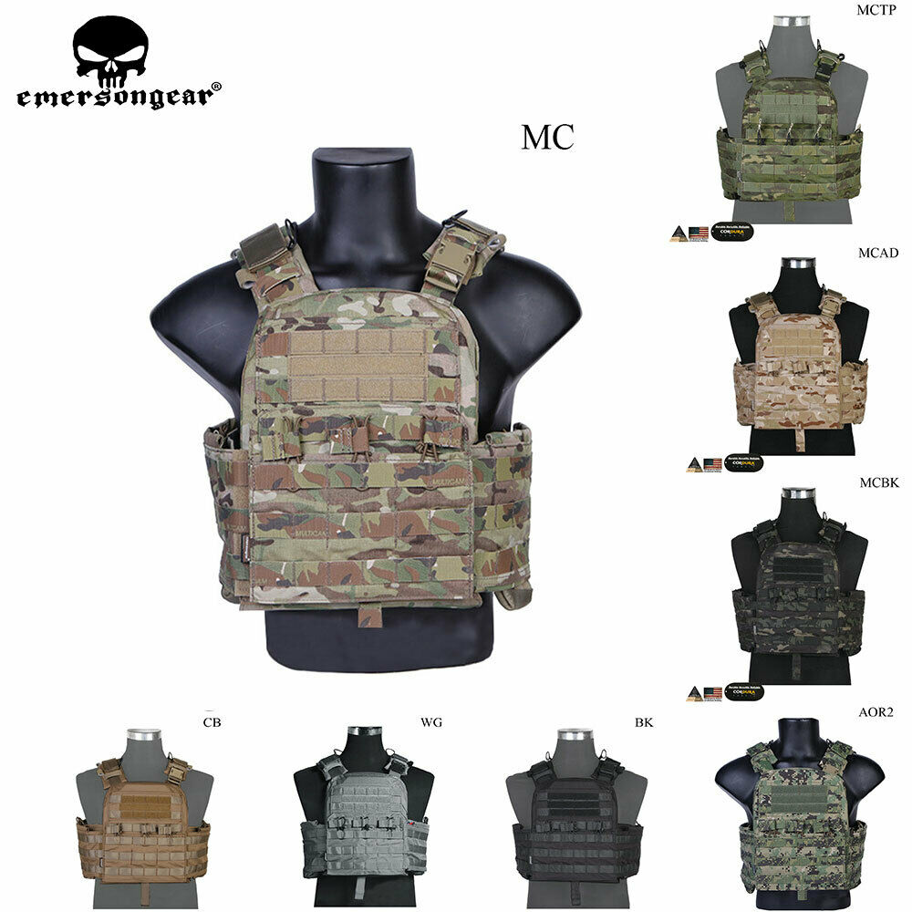 Emerson Tactical Vest CPC Camo Airsoft CAGE Plate Carrier Molle Body Armor CP