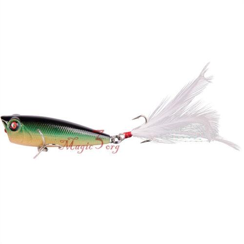 Lot 5 Floating Popper 1//4oz Fishing Hardbaits Walk the Dog Topwater Feather Hook