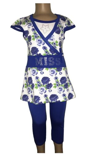 New Girls Tunic//Floral Dress//Top/&Leggings 2 Piece Set //Summer Outfit 2-12ys #221