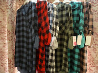 Women Ladies Hot New Checked Plaid Long Sleeve T Shirt Dress Button Front Collar