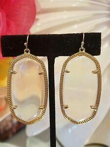 Image Is Loading Kendra Scott Rare Danielle Earrings In Clear Iridescent