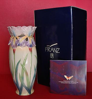 "Franz Iris Sculptured Design Porcelain 13.25"" flower vase - FZ00583 - MIB - RARE"