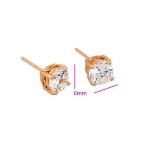 "6 /& 8mm,706 9ct 9k Yellow /""GOLD FILLED/"" Men Ladies White Stone Stud Earrings"