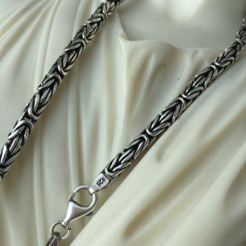 48GR 925 Sterling Silver Mens Round Byzantine Oxide Chain Necklace 4mm 22 Inch