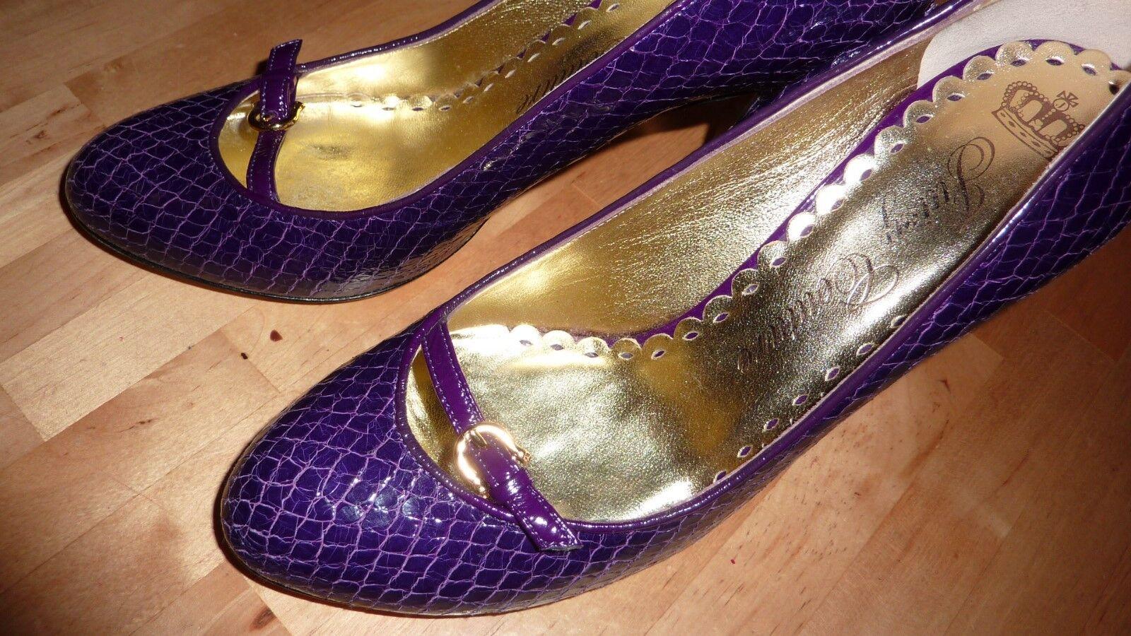 Recortes de precios estacionales, beneficios de descuento Juicy Couture patente Púrpura Cuero Animal Print Tacones Zapatos Chic!! rara!!!