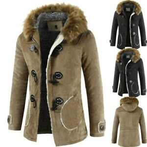 Winter Men/'s Long Padded Jacket Hooded Cotton Trench Coat Fur Outwear Thicken D6