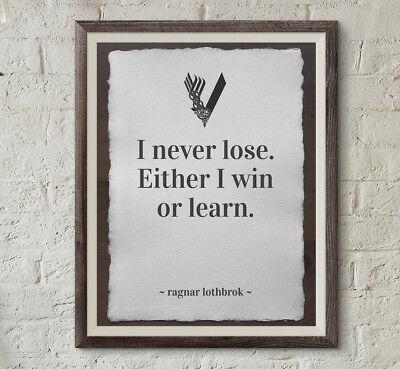 Ragnar Lothbrok VIKINGS Zitat poster plakat Kunstdruck A4 auf Baumwollpapier