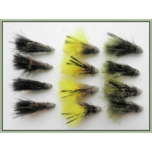 Choice of Sizes Trout Flies Olive /& Black Muddler Minnows 12 Pack of Yellow