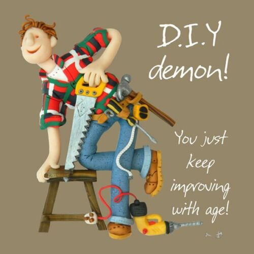 Birthday Card Male Funny Humour DIY demon One Lump Or Two Quality
