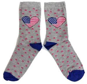 Damen-patriotische Usa-flagge In Herzen Socken 37-42 Damenmode