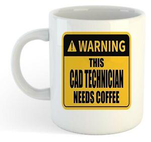 Warning-Esta-Cad-Tecnico-Necesita-Cafe-Blanco-Taza-Regalo-Trabajo-Regalo