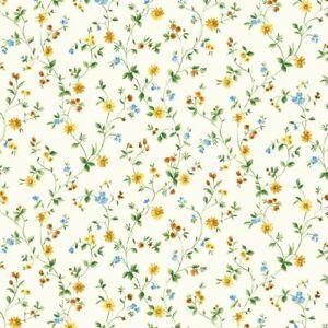 Smita Tapete Fiorellini 52808  Blumen Blümchen blau grün weiß Vinyltapete Vinyl