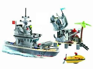 Military-Navy-Ship-amp-Island-Fort-Custom-Lego-Set