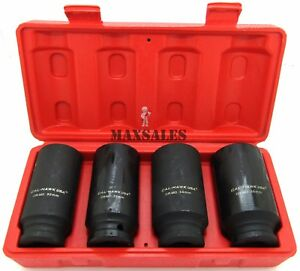 """6 Point 4pc 1//2/"""" Drive Deep Spindle Axle Nut Socket Set MM 30mm 32mm 34mm 36mm"""