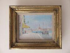 Precioso Original óleo sobre lienzo enmarcado 19THC-S Giorgio Maggiore Venecia Italia