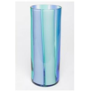 LIVIO-SEGUSO-MURANO-GLASS-MODERNIST-CYLINDRICAL-STRIPED-VASE-SIGNED