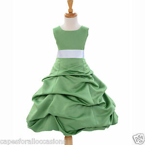 CLOVER-GREEN-TODDLER-BIRTHDAY-KDS-WEDDING-FLOWER-GIRL-DRESS-2-4-6-8-10-12-14-16