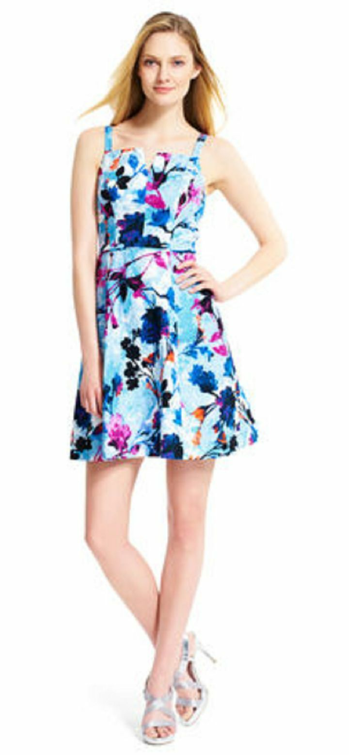 NWT ADRIANNA PAPELL  blueE FLORAL JACQUARD COTTON  DRESS SIZE 16