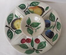 5 Piece Sectioned Appetizer Tray Bowl Ceramic Fruits and Leaves Hanpainted Italy