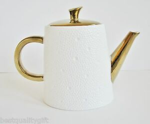 Image is loading BALVERY-WHITE-GOLD-HANDLE-HAMMERED-DESIGN-CERAMIC-COFFEE- & BALVERY WHITE+GOLD HANDLEHAMMERED DESIGNCERAMIC COFFEETEA POT-5.5 ...