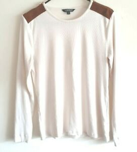 Lauren-Ralph-Lauren-White-Long-Sleeve-Ribbed-w-Brown-Zipper-Shoulders-Womens-XL