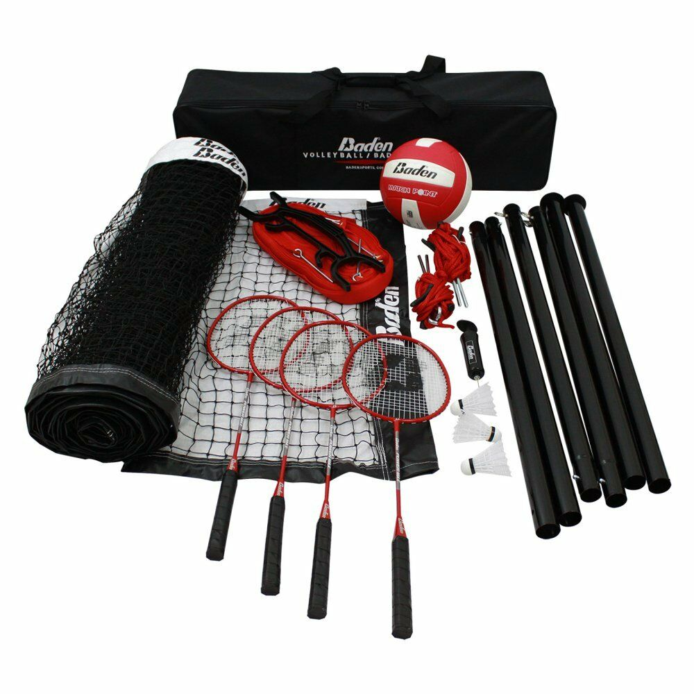 Baden Champions Volleyball Badminton Set, Red, 32L x 3H ft.