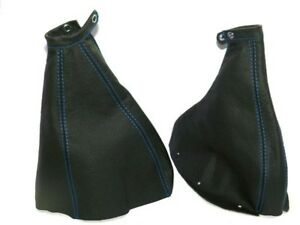 Gear-amp-Handbrake-Gaiter-For-Fiat-Coupe-1994-00-Leather-Blue-Stitching