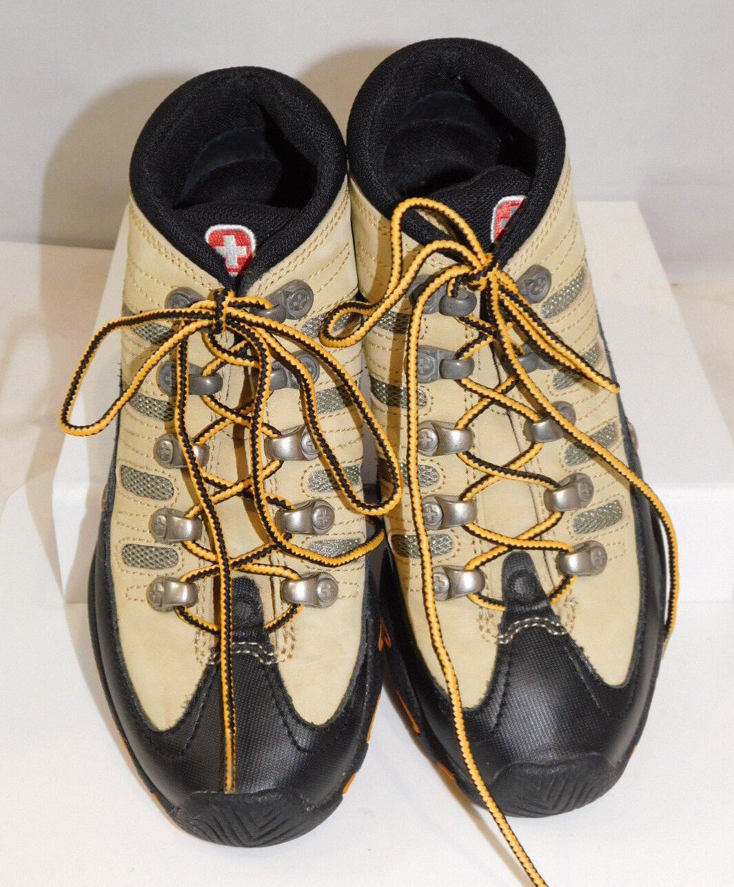 Wenger Swiss Hiking boots Leather Womens 36 US 5 Leather boots Metal Eyes Ankle high ECLN f20fa4