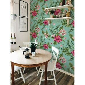 Non-Woven-wallpaper-Colorful-Hibiscus-Exotic-Floral-Tropical-Traditional-Mural
