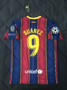 Fc Barcelona Home Soccer Jersey 2020 2021 Suarez 9 Uefa Champions League Large Ebay