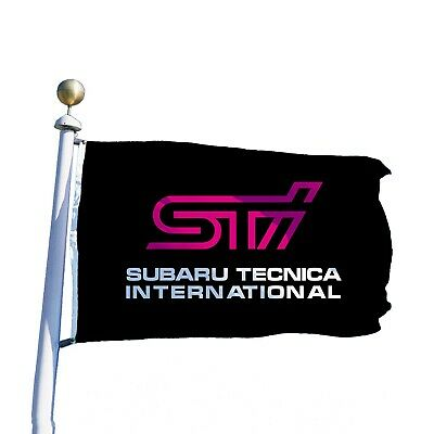 STI Flag Banner 3x5 ft SUBARU WRX WRT Impreza Rally Wall Car Garage Black