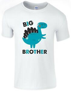 Dinosaur-Big-Brother-Boys-T-Shirt-Printed-Gift-Top-Pregnancy-Reveal-Present