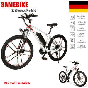 Samebike 26 Zoll 350W Elektrofahrrad Moped Bike Mountainbike 30KM//H Schwarz DE