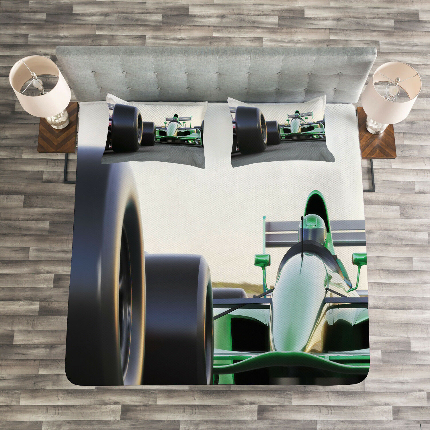 Cars Quilted Bedspread & Pillow Shams Set, Indy Cars on Asphalt Road Print