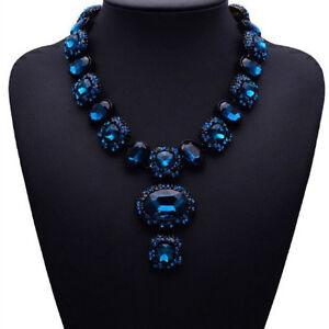 Modeschmuck kette schwarz  Blau Glas Strass Kette Statementkette Halskette Collier ...