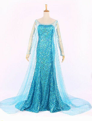 Princess Queen Elsa Anna Style Cosplay Costume Party Fancy Dress Adult Ice Blue