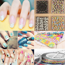 Unique 3D Acrylic Nail Art Tips Stickers DIY Flowers Decal Wraps Manicure Tapes