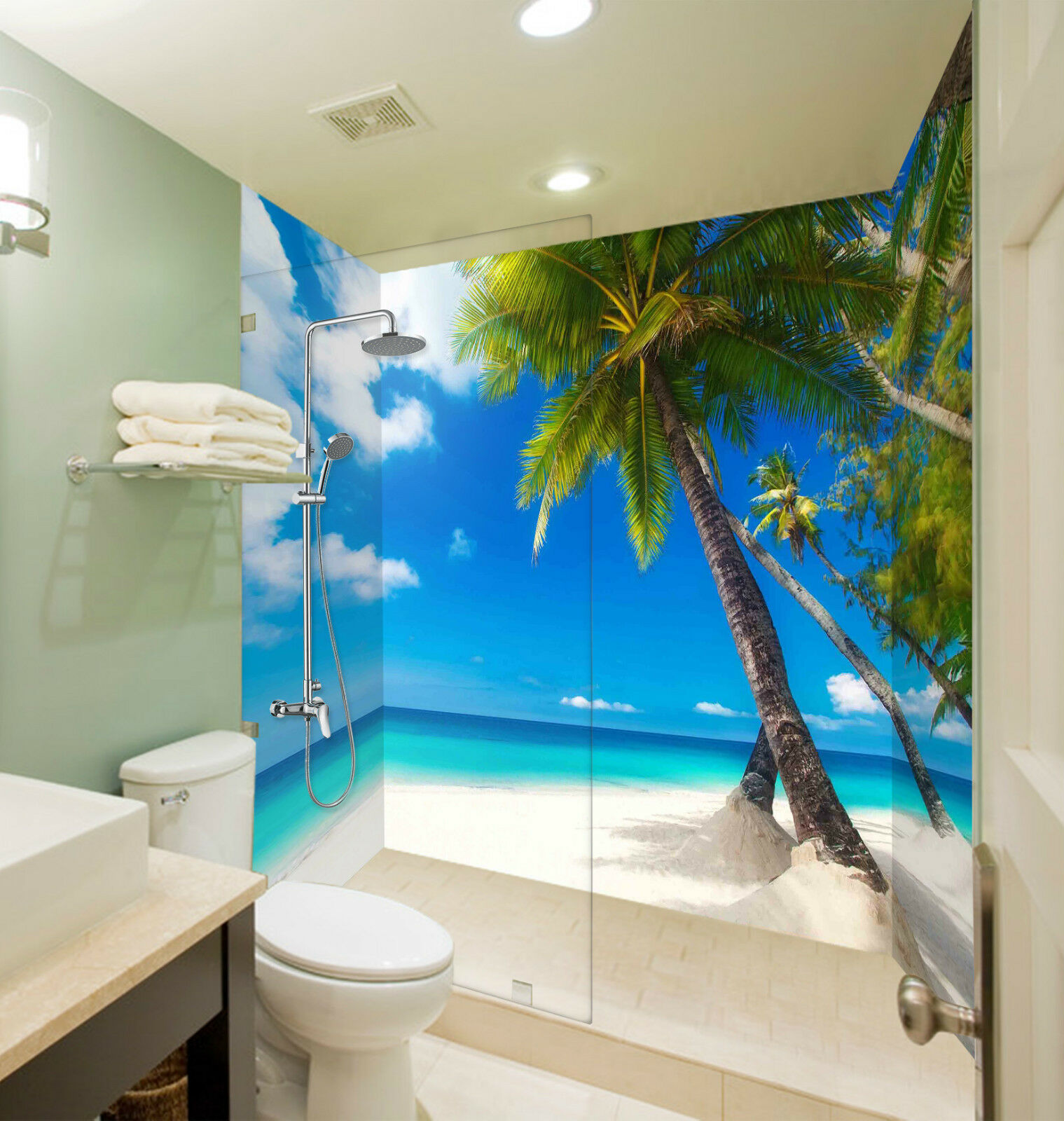 3D Beach Scenery 071 WallPaper Bathroom Print Decal Wall Deco AJ WALLPAPER CA