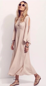 NEW Free People Endless Summer Cold Shoulder Maxi Dress in Nude Beige Sz XS