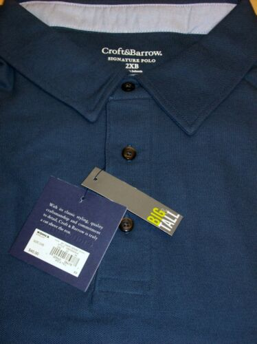 Croft /& Barrow Men/'s Signature Pique Polo Long Sleeve Shirt Big Tall 2XB 3XB 4XB