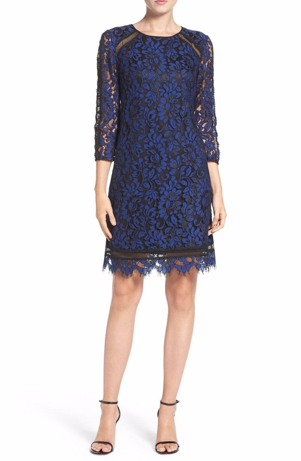 Eliza J Inset Lace Sheath Dress (Größe 12)