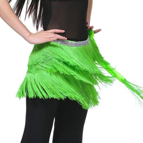 Belly Dance Costume 3 Layers Tassel Hip Scarf Belt 12 Colors