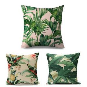 Image Is Loading Tropical Banana Green Leaves Linen Cushion Cover Sofa