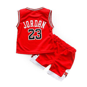 HOT Kids Baby Boys Girls  23 Michael Jordan Bulls Basketball Jerseys Short  Suit fb9760203