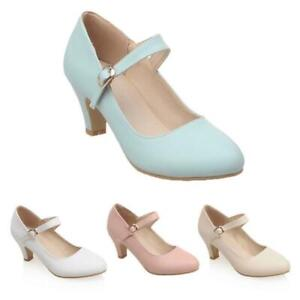 Women-Ladies-Mary-Jane-Low-Mid-Kitten-Heels-Round-Toe-Pumps-Court-Shoes-Size