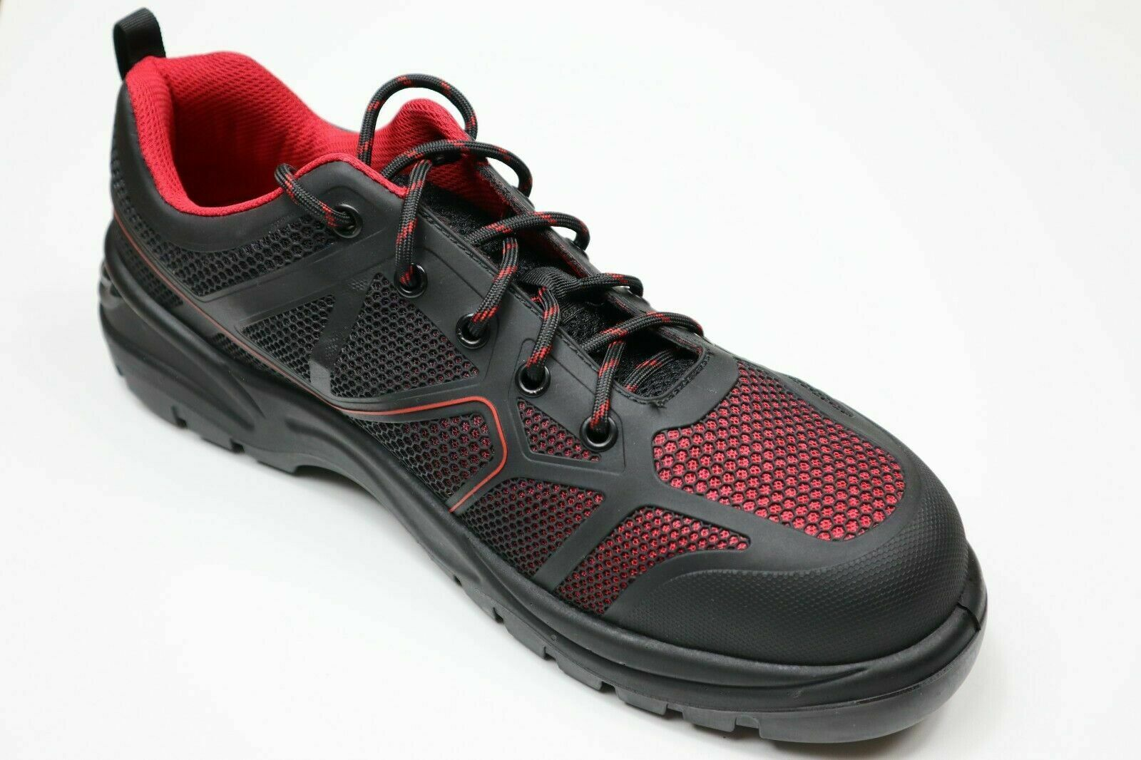 Tradesafe Compo Black Red Synthetic Lightweight Composite Toe Cap Safety Shoes