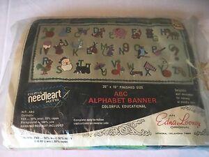 Vtg-Edna-Looney-Felt-ABC-Alphabet-Banner-Needlework-Kit-SEALED