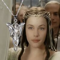 """Lord of the Rings 16"""" Silver Crystal Arwen's Evenstar Elf Princess Necklace Gift"""